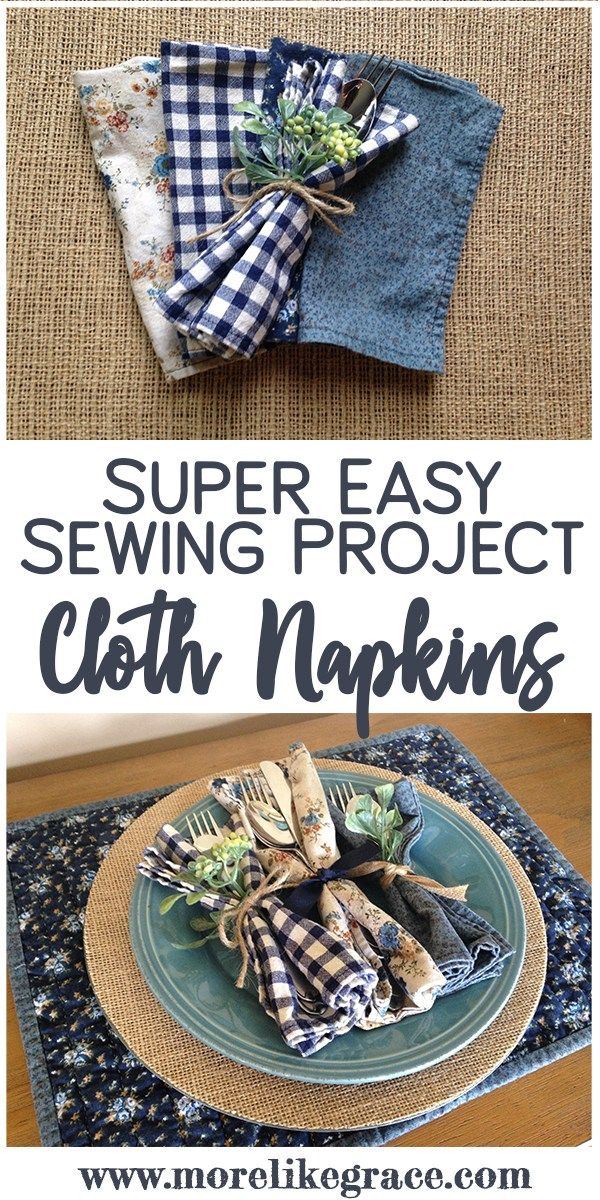 Cloth Napkins: Easy Sewing Tutorial #beginnersewingprojects
