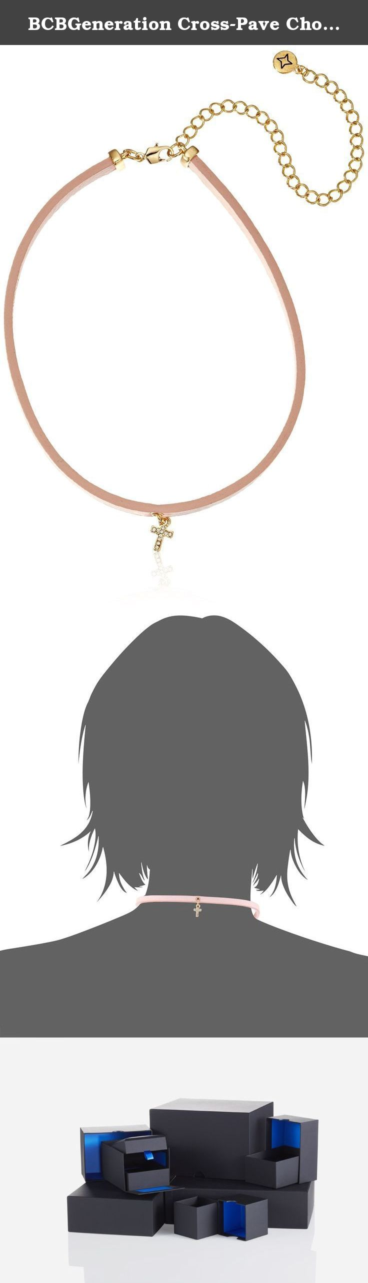 """BCBGeneration Cross-Pave Choker Necklace, 12.5"""" + 5"""". Faux-leather choker necklace with pave cross charm. Lobster-claw clasp. Made in China."""