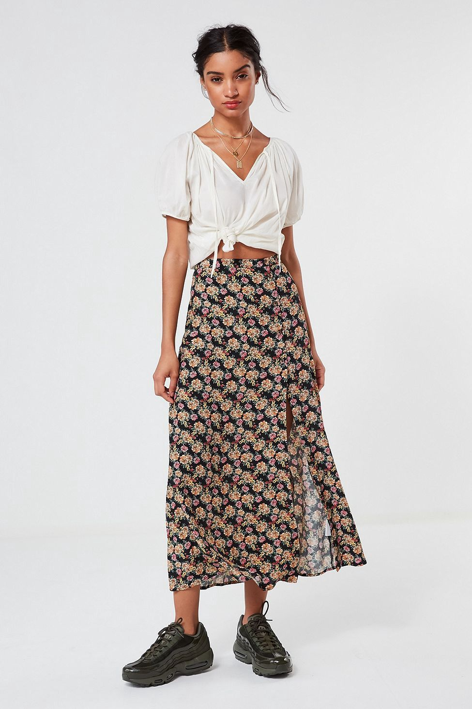 Urban outfitters uo talula floral buttondown maxi skirt black