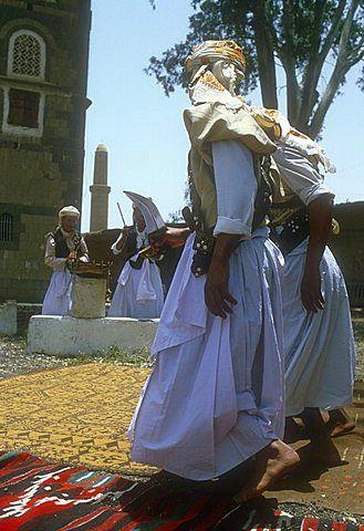 Men performing traditional dance, Sanaa, Yemen