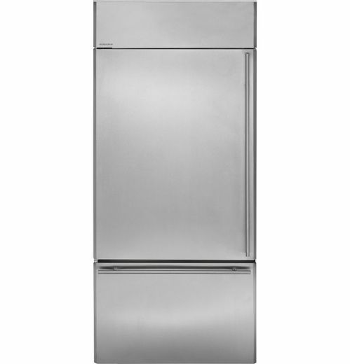 Zics360nhlh Ge Monogram 36 Built In Bottom Freezer Refrigerator Left Hinge Stainless Steel