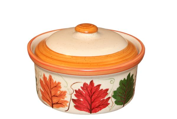 Autumn Leaves Covered Cerole Dish By Hf Coors Hand Painted Safe For Freezer