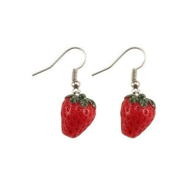 Cute Red Juicy Strawberry Kitsch Fruit Design Drop Earrings (525 INR) ❤ liked on Polyvore featuring jewelry, earrings, accessories, earring jewelry, drop earrings, red drop earrings, red jewellery and red earrings