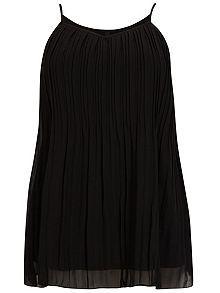 Plus Size Black Pleat Cami Top