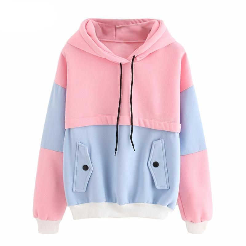 Color Block Drawstring Hooded Tops