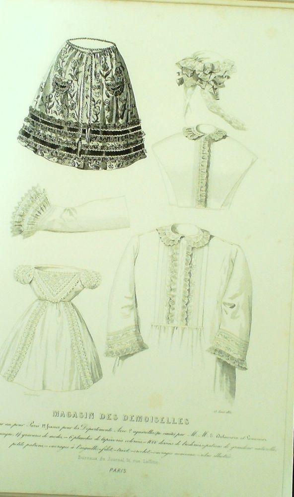 August 1851  ++++++++  GRAVURE de MODE AUTHENTIQUE-M148-MAGASIN DEMOISELLES-COIFFES-LINGERIE-1851
