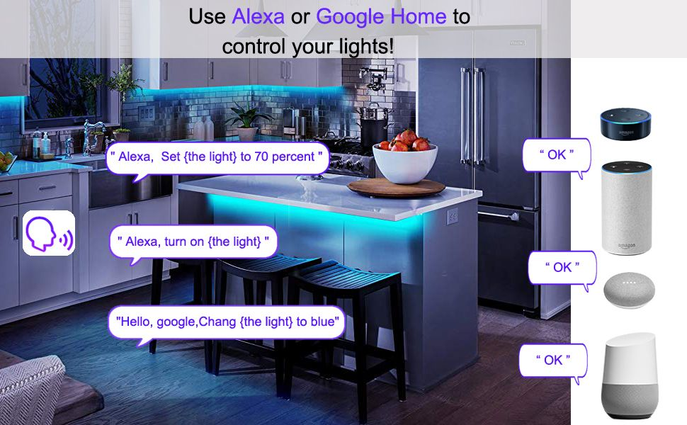 Works Seamlessly With Amazon Echo Dot Google Home Mini Etc Go Hands Free With Voice Control Striplights D Led Strip Lighting Strip Lighting Tape Lights