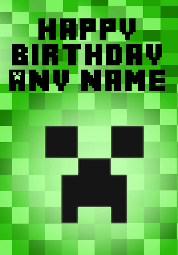 This is an image of Epic Minecraft Birthday Card Printable