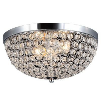 Eliptic 2 Light Chrome And Crystal Flush Mount 105033 15 At The Home Depot Closet Guest Bedrooms