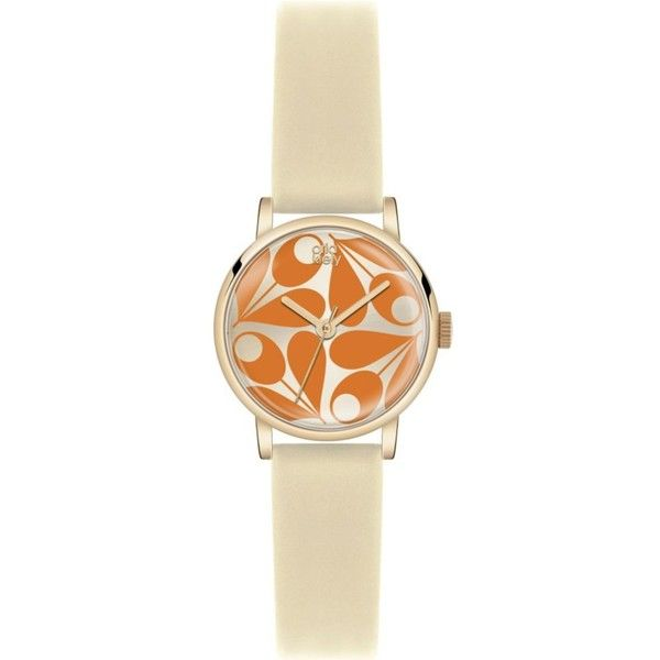 ORLA KIELY Patricia leather watch (410 PEN) ❤ liked on Polyvore featuring jewelry, watches, orange, leather wrist watch, orange jewelry, leather strap watches, orla kiely and leather jewelry