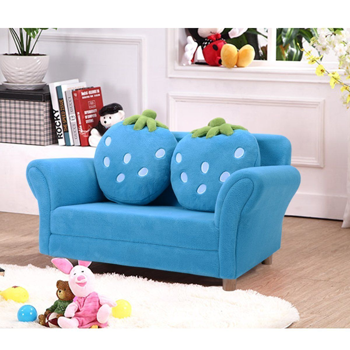 Costzon Children Sofa Kids Couch Armrest Chair Upholstered Living Room Furniture Lounge Bed With Two Strawberry Upholstered Kids Chair Kids Armchair Kids Sofa