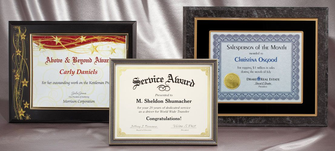Certificate Plaques For Your Wall And Office Employee Recognition