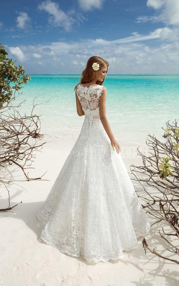 Aline long vneck sleeveless corsetback lace dress with beading