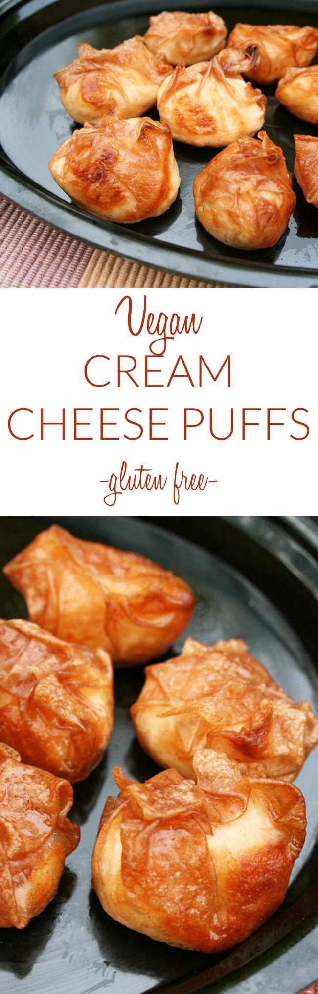 Vegan Cream Cheese Puffs Vegan Gluten Free These Rich Crispy And Creamy Appetizers Are Really Additive Vegan Appetizers Recipes Food Vegan Recipes Healthy
