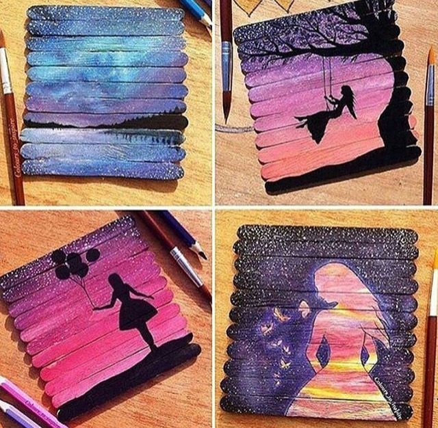 Popsicle stick canvas paintings | Cool Drawing/Painting ...