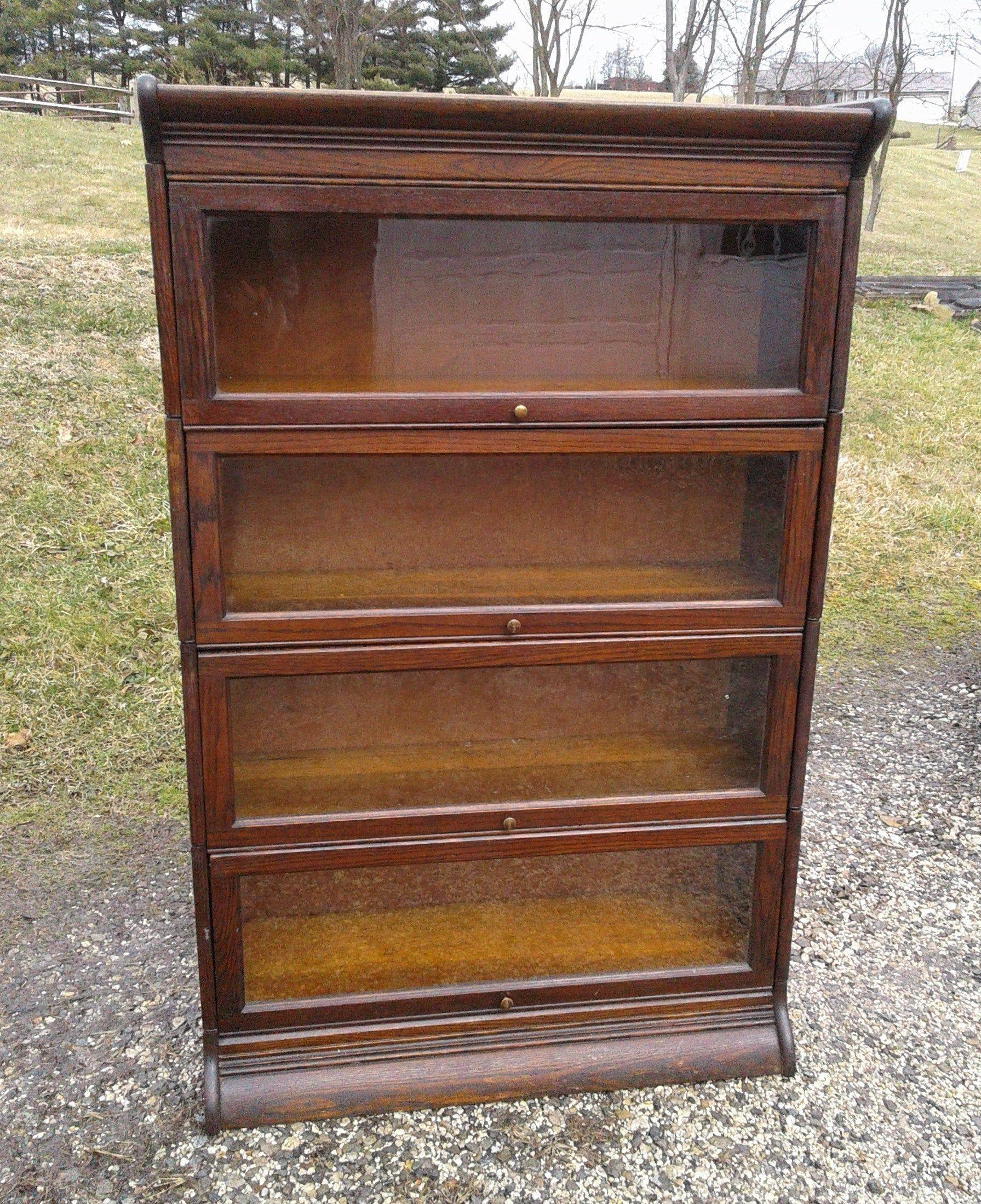 Antique Barrister Bookcase 4 Stack Gunn Tiger Oak W Bull Nose