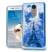 Blue Paris Eiffel Tower Motion Glitter Chrome Case For LG