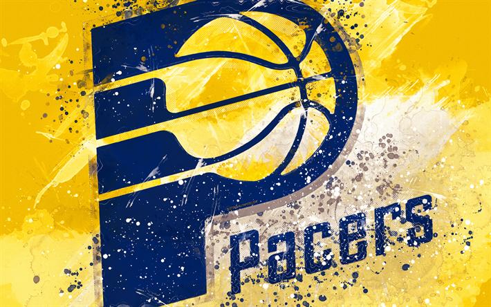 Download Wallpapers Indiana Pacers 4k Grunge Art Logo American Basketball Club Yellow Grunge Background Paint Splashes Nba Emblem Indiana Usa Basketb Indiana Pacers Grunge Art Paint Splash