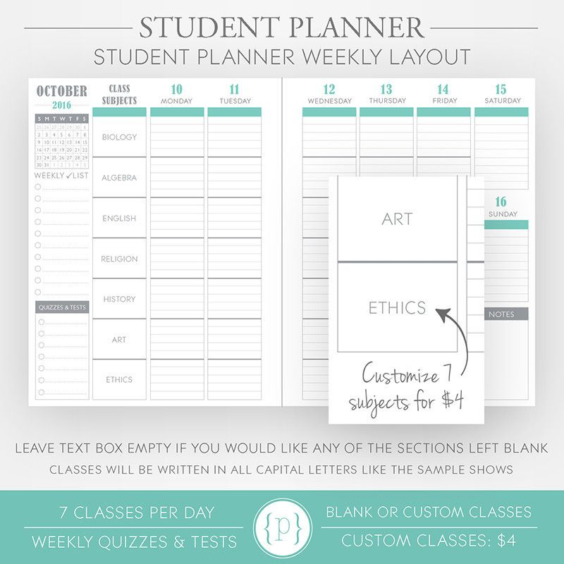 Student Planner Teaching French Pinterest Student planner - sample student agenda