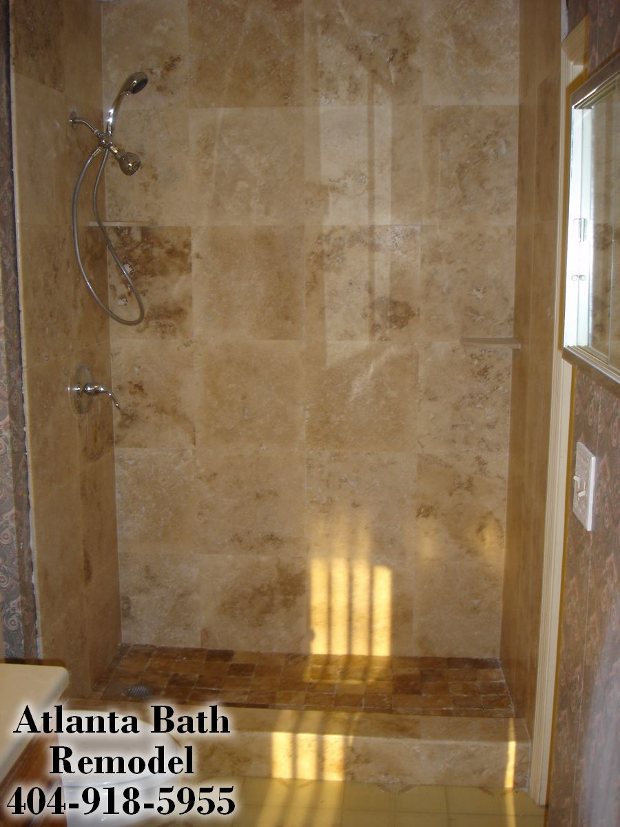 Bathroom Remodel Tile Shower 16 x 16 shower tile | atlanta shower remodel travertine shower