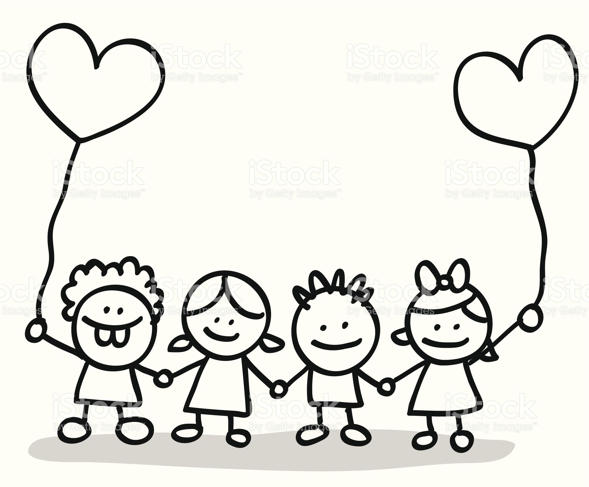 Doodle Style Little Cude Children With Heart Shape Balloon