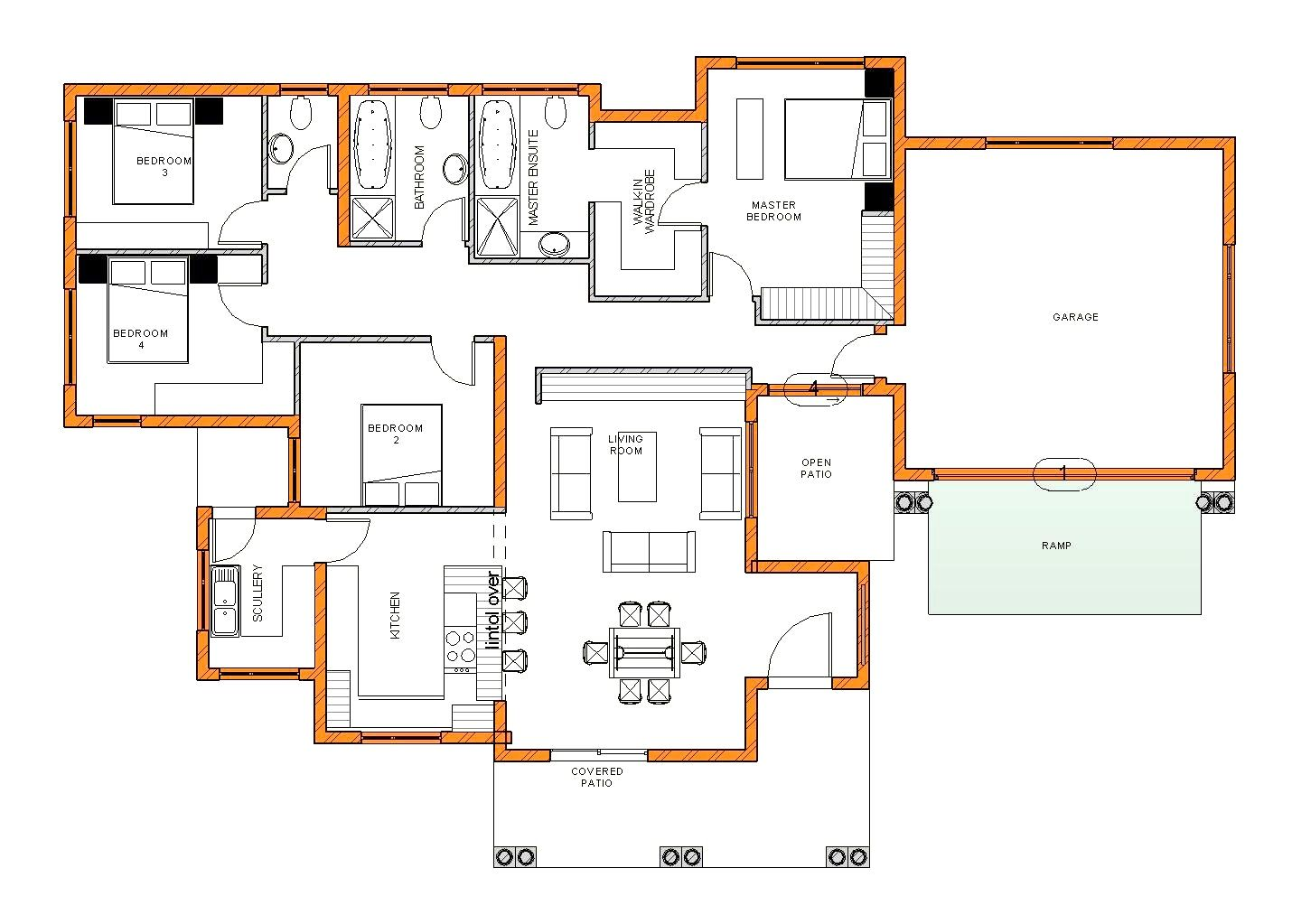 Modern 4 bedroom house plans south africa stunning tuscan - Single story four bedroom house plans ...