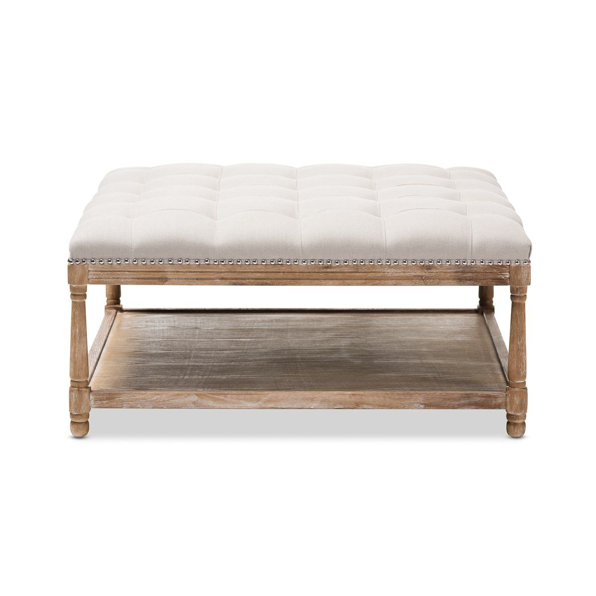 Best Baxton Studio Carlotta Oak Beige Linen Square Coffee Table 400 x 300