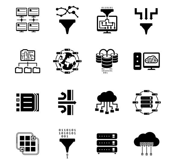 Data Filter And Data Transfer Icons Downloading Data Icon Filters