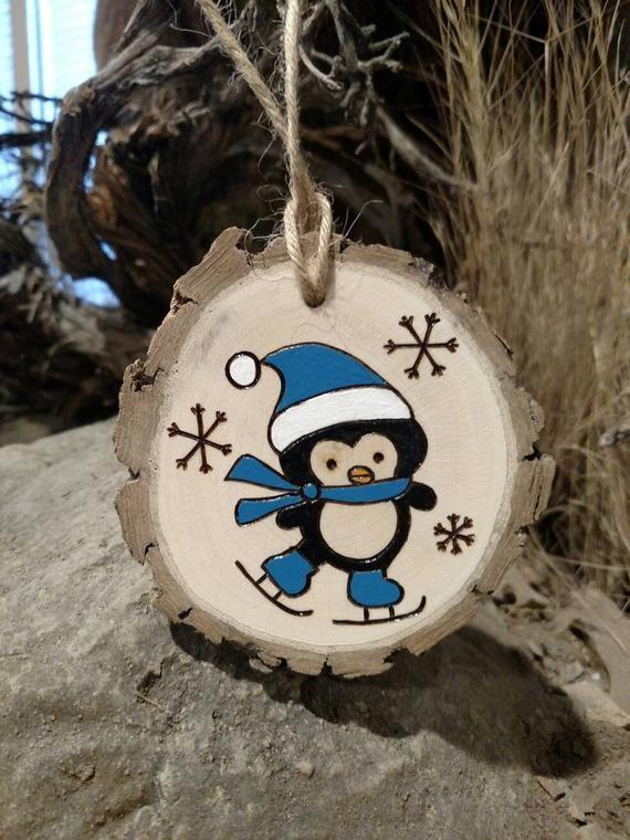 Wood Burned Ornament -- Penguin -- Christmas Ornam