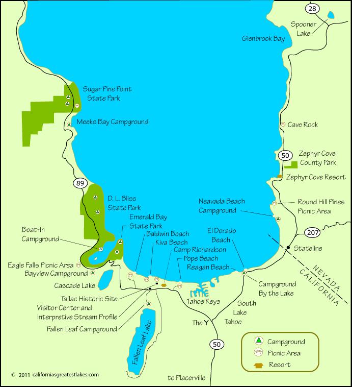 south lake tahoe beaches map Travel Visit And Camp At The Various Campgrounds At South Lake south lake tahoe beaches map