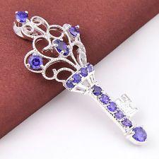 Christmas Jewelry Gift Natural Amethyst Gemstone Silver Key Neckalce Pendant