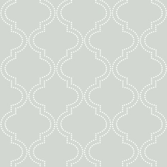 Gray Quatrefoil Modern Peel And Stick Arabesque Wallpaper Nu1649 Quatrefoil Wallpaper Nuwallpaper Peel And Stick Wallpaper