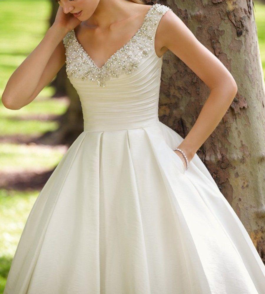 Amore Bridal Womens Beaded Satin Tea Length Wedding Dresses With Pockets Ivory 14 Read Wedding Dress With Pockets Wedding Dresses Tea Length Wedding Dress [ 1001 x 900 Pixel ]