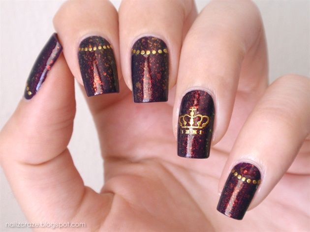 Nfu Oh 51 & Golden Crown Nail Art by BornPrettyNails from Nail Art Gallery - Nfu Oh 51 & Golden Crown Nail Art By BornPrettyNails From Nail Art