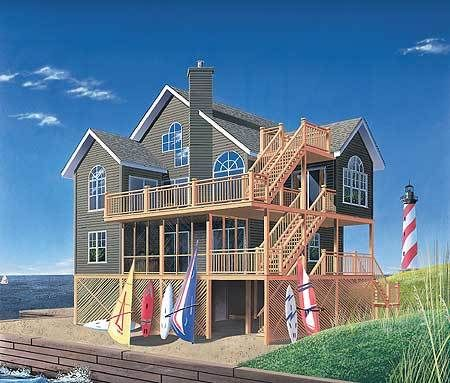 Plan 2164dr Family Vacation Home Plan In 2021 Beach Style House Plans Beach House Floor Plans Coastal House Plans