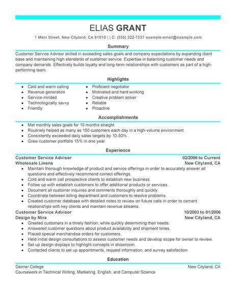 Live Career Resume Best Sales Customer Service Advisor Resume Example  Livecareer .