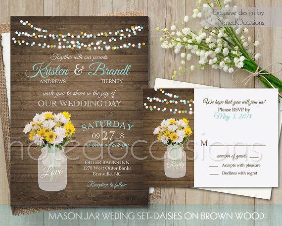 Mason Jar Wedding Invitation Printable Set Rustic Country Weddin Mason Jar Wedding Invitations Template Mason Jar Wedding Invitations Daisy Wedding Invitations