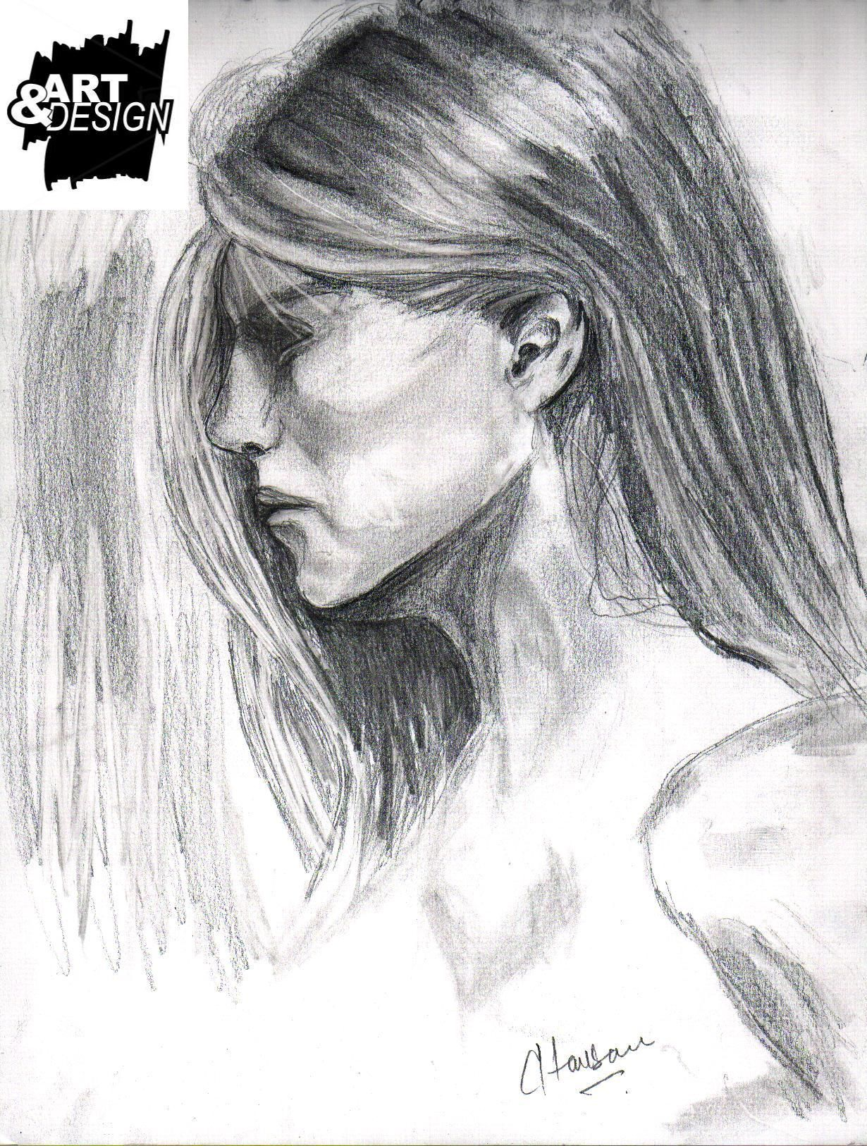 Side pose of girl pencil sketch by zohaib hassan for mote about zohaib hassan please visit www facebook com aad2014 www twitter com zohaibhaxan