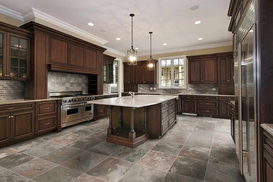 Kitchen Floor Tile Ideas With Dark Cabinets  Httplatulu Alluring Kitchen Designs Dark Cabinets Decorating Design