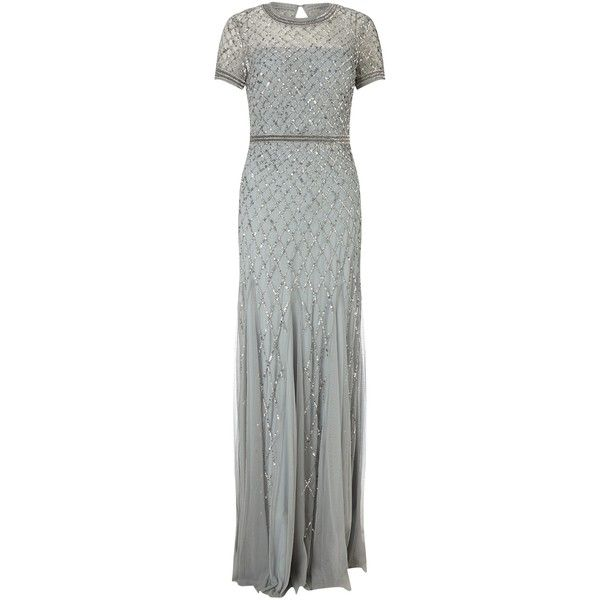 Adrianna Papell Cap Sleeve Beaded Gown, Blue Mist ($210) ❤ liked on ...