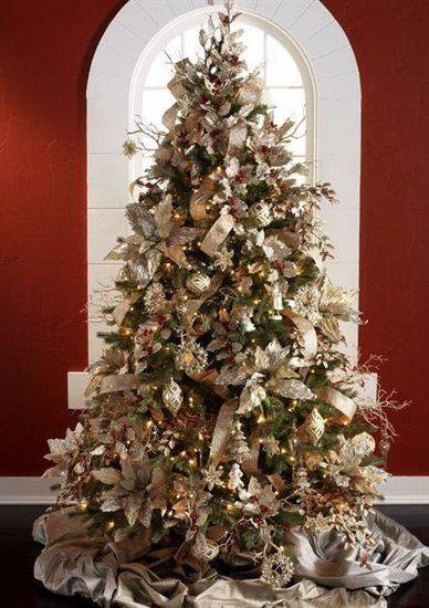 Champagne Frost 1 Tree Gold Silver Cream White Christmas Tree