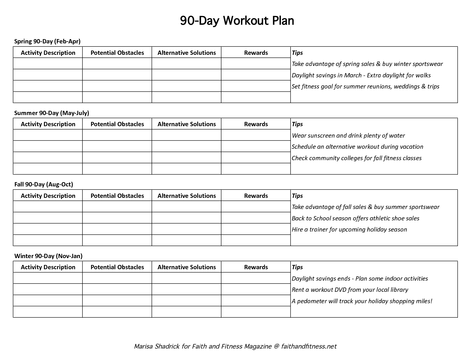 90 Day Work Plan Template