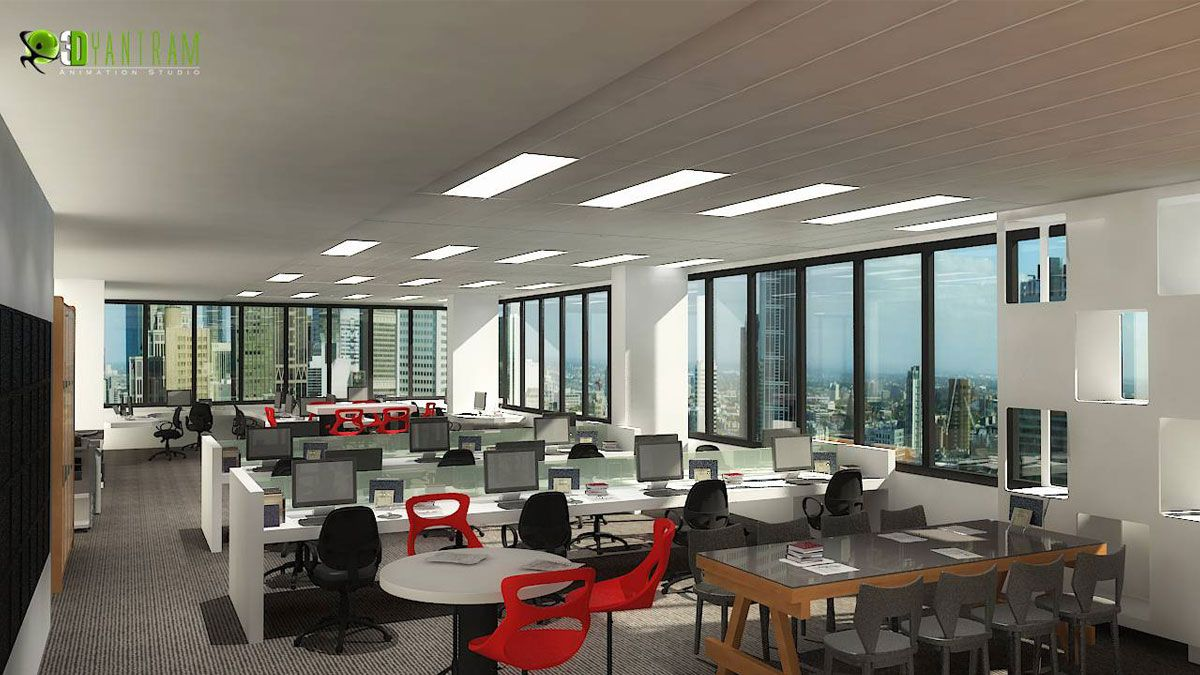 3D Interior CGI Design Rendering Of Commercial Office