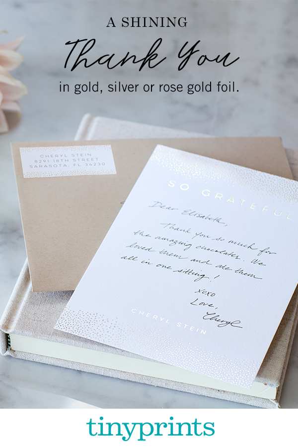 If you are looking for ways to brighten up your best friend's day, or to give your spouse a special symbol of your love, try giving them thank you notes at unusual moments. It's the little things in life that mean the most! Shop our collection of foil-stamped thank you notes today.