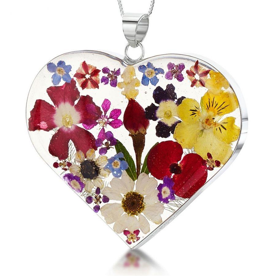 Obrázok pre Strieborný prívesok Kvety Mix kvetov - Srdce veľké 461893a147f