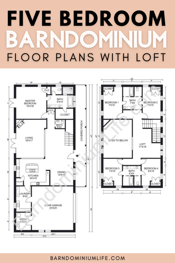 5 Bedroom Barndominium Floor Plan With Loft In 2020 Barndominium Floor Plans Loft Floor Plans Floor Plans