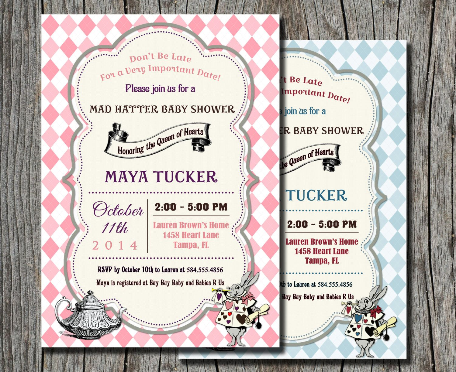 Mad Hatter Baby Shower Invitation Alice in by pegsprints on Etsy ...