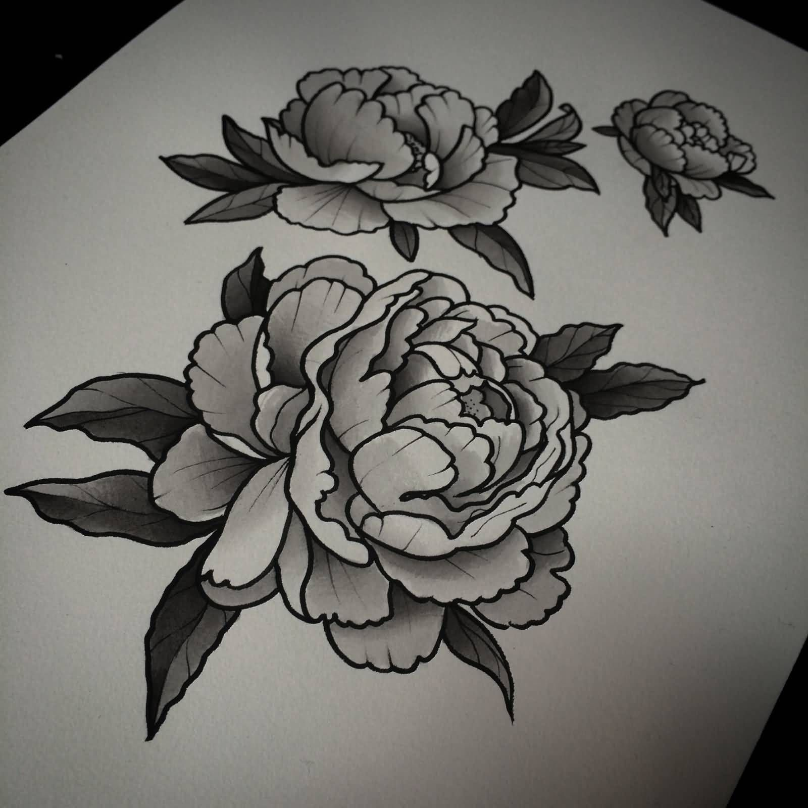 Black And Grey Peony Flowers Tattoo Designs Med Billeder