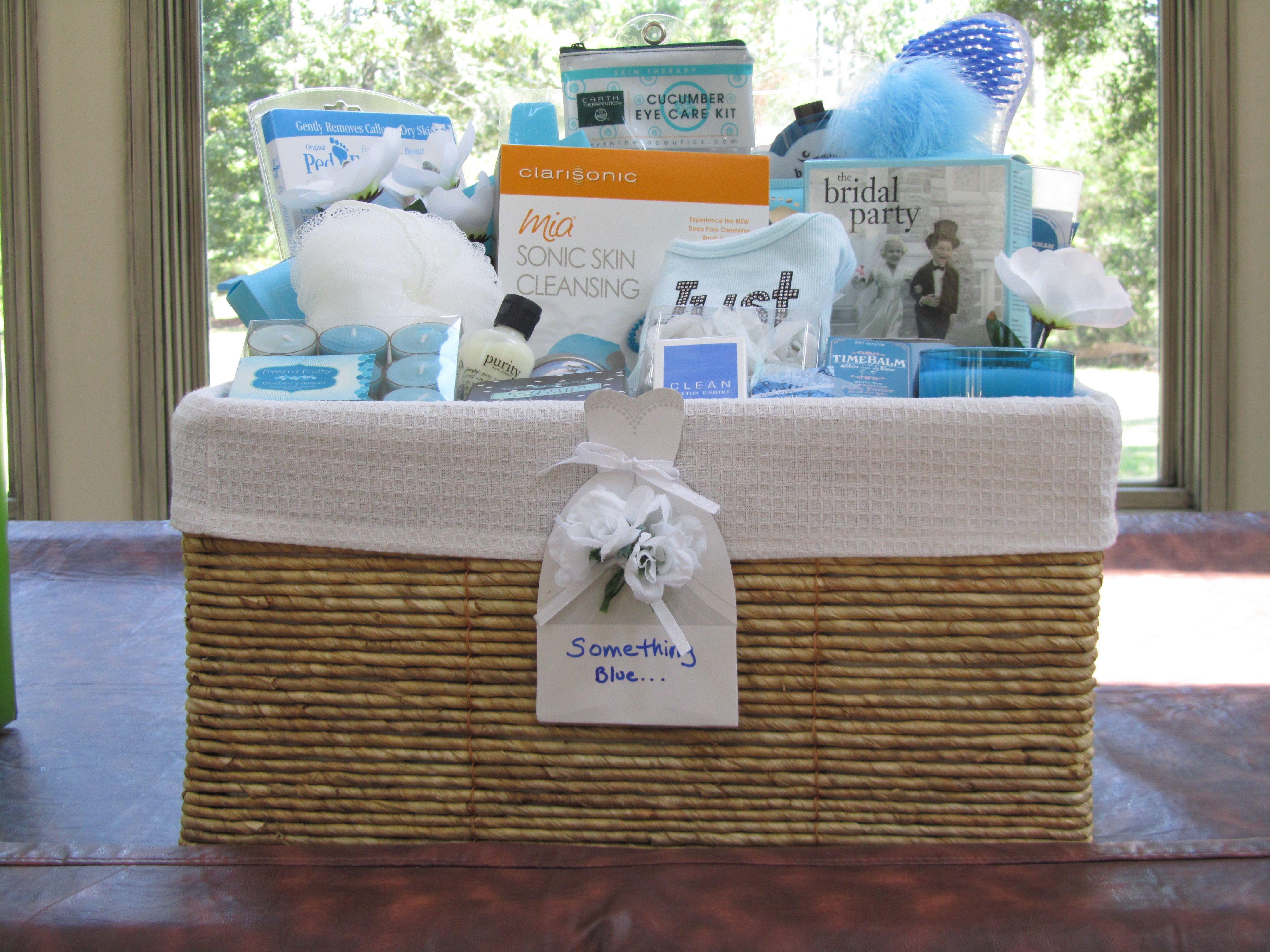 Something Blue Wedding Gift Basket Gift Baskets Pinterest