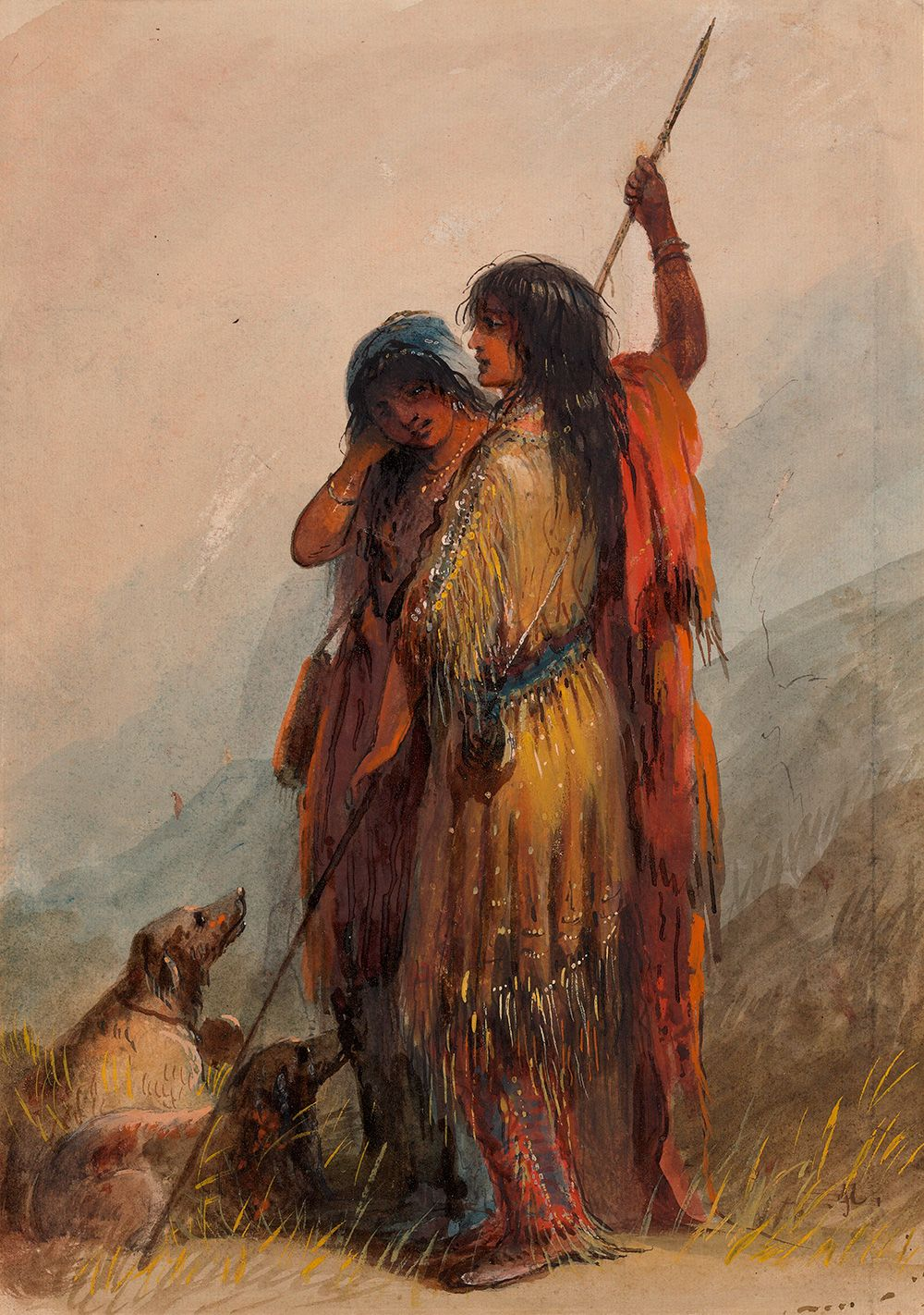 Two shoshone indian girls by alfred jacob miller 1837